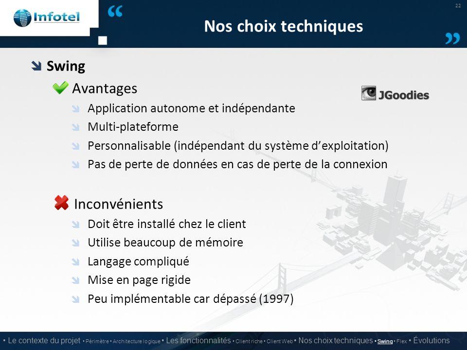 Nos choix techniques  Swing Avantages  Application autonome et indépendante  Multi-plateforme  Personnalisable (indépendant du système d'exploitat
