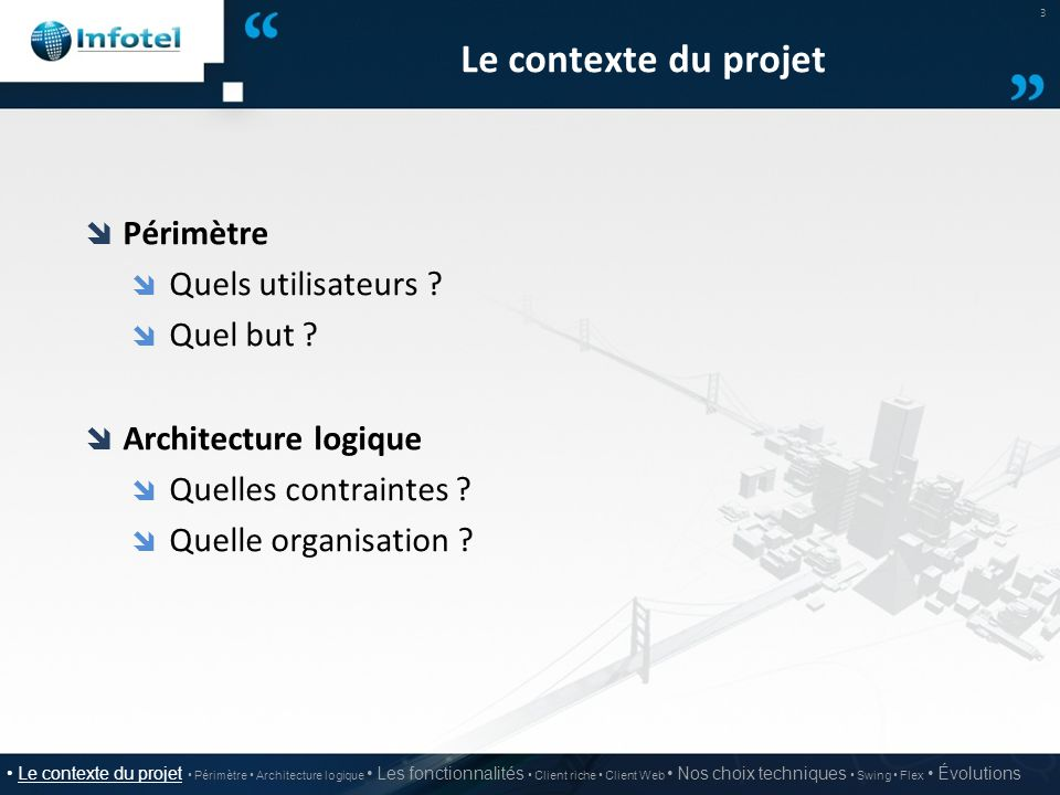 Le contexte du projet  Périmètre  Quels utilisateurs ?  Quel but ?  Architecture logique  Quelles contraintes ?  Quelle organisation ? 3 Le cont