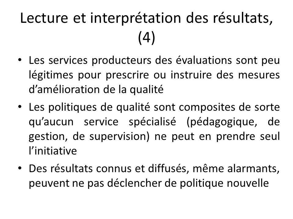 Lecture et interprétation des résultats, (4) Les services producteurs des évaluations sont peu légitimes pour prescrire ou instruire des mesures d'amé