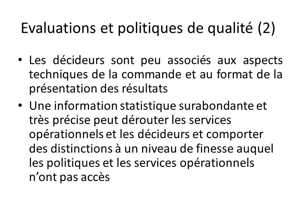 Evaluations et politiques de qualité (2) Les décideurs sont peu associés aux aspects techniques de la commande et au format de la présentation des rés