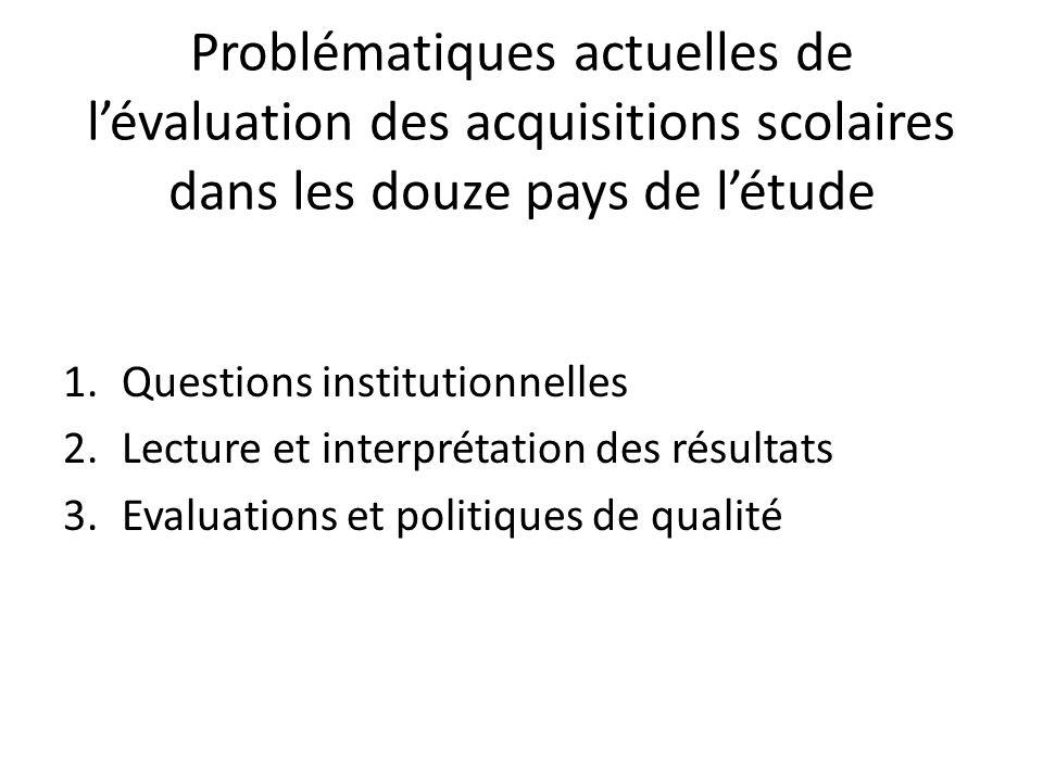 Problématiques actuelles de l'évaluation des acquisitions scolaires dans les douze pays de l'étude 1.Questions institutionnelles 2.Lecture et interpré