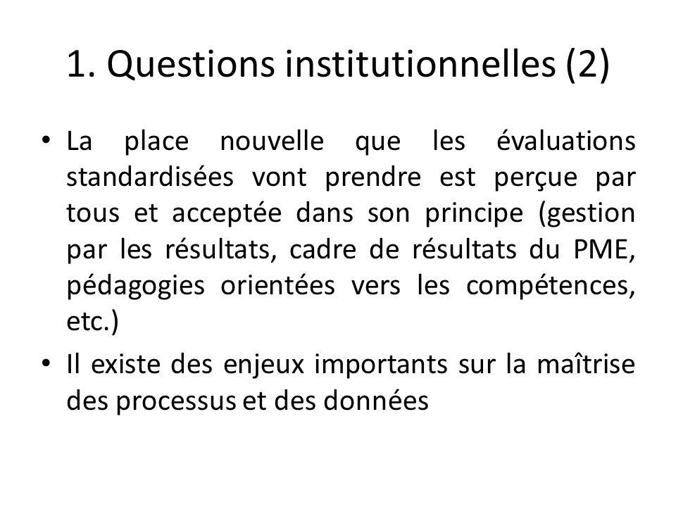 1. Questions institutionnelles (2) La place nouvelle que les évaluations standardisées vont prendre est perçue par tous et acceptée dans son principe