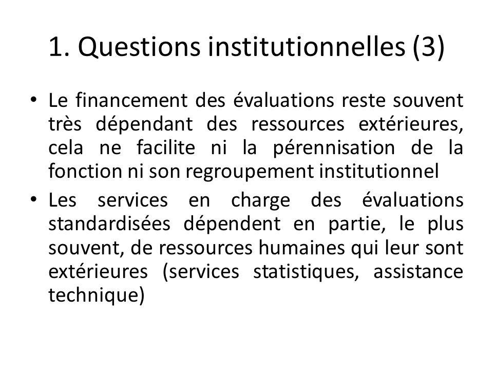 1. Questions institutionnelles (3) Le financement des évaluations reste souvent très dépendant des ressources extérieures, cela ne facilite ni la pére