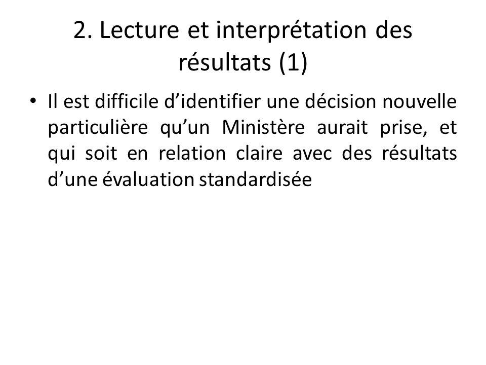 2. Lecture et interprétation des résultats (1) Il est difficile d'identifier une décision nouvelle particulière qu'un Ministère aurait prise, et qui s