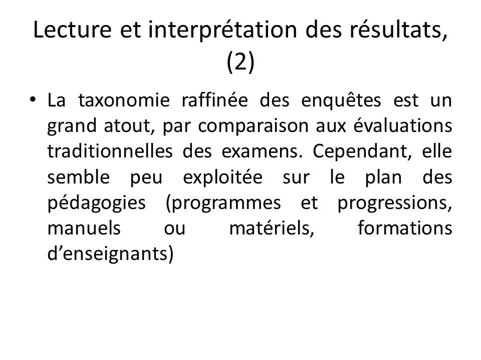 Lecture et interprétation des résultats, (2) La taxonomie raffinée des enquêtes est un grand atout, par comparaison aux évaluations traditionnelles de