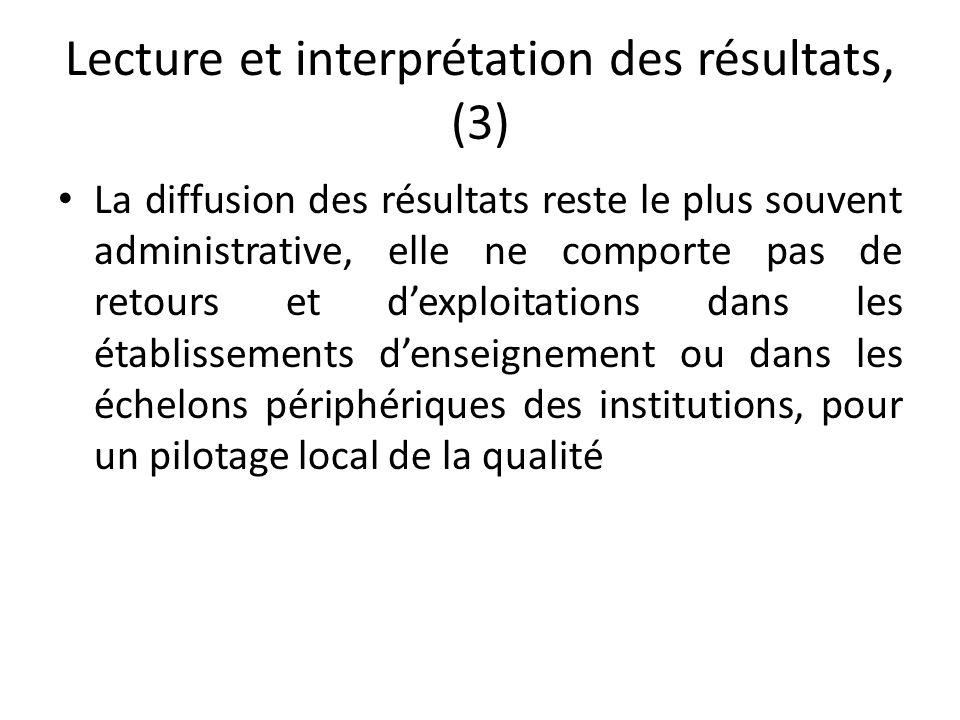 Lecture et interprétation des résultats, (3) La diffusion des résultats reste le plus souvent administrative, elle ne comporte pas de retours et d'exp