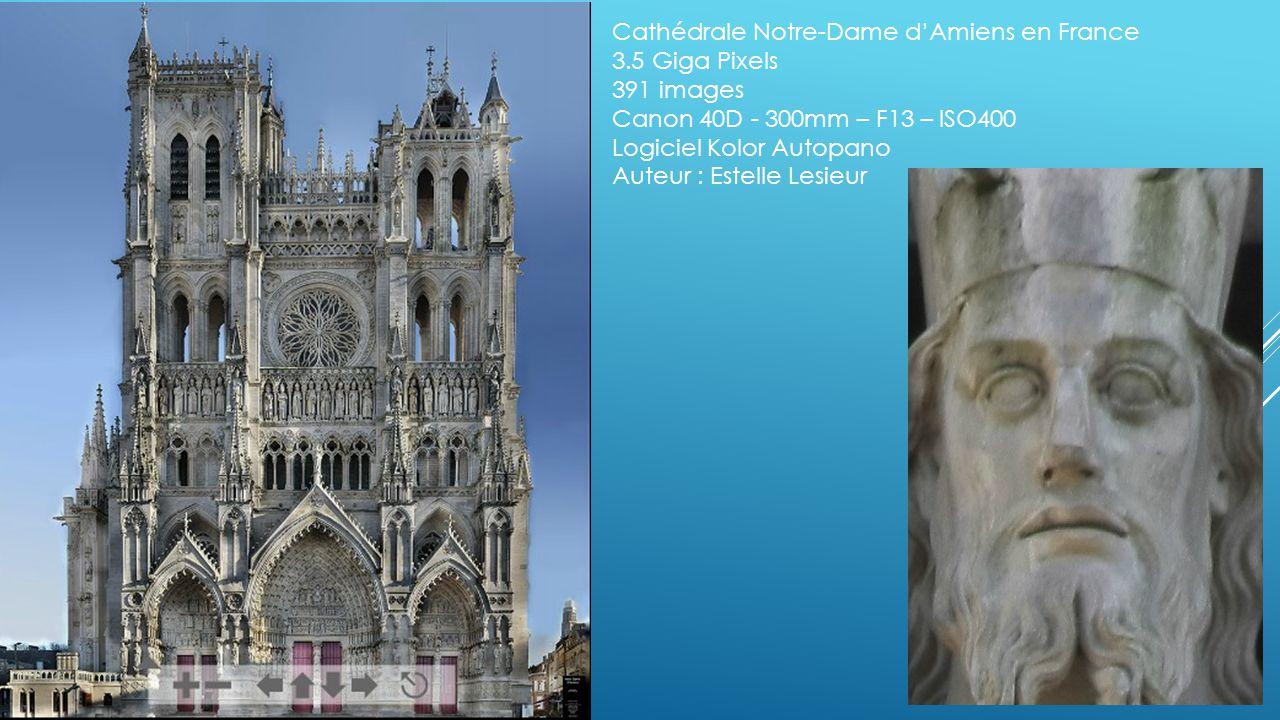 Cathédrale Notre-Dame d'Amiens en France 3.5 Giga Pixels 391 images Canon 40D - 300mm – F13 – ISO400 Logiciel Kolor Autopano Auteur : Estelle Lesieur