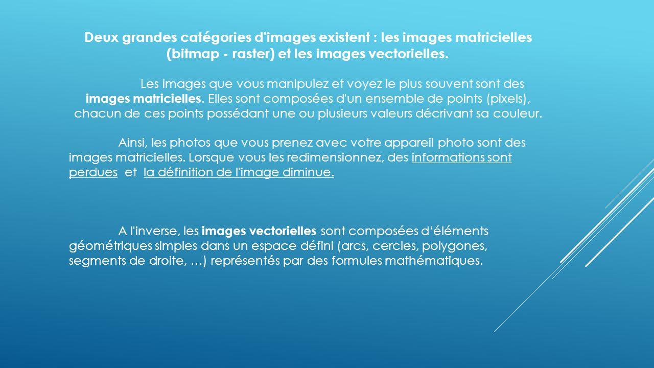 Deux grandes catégories d images existent : les images matricielles (bitmap - raster) et les images vectorielles.
