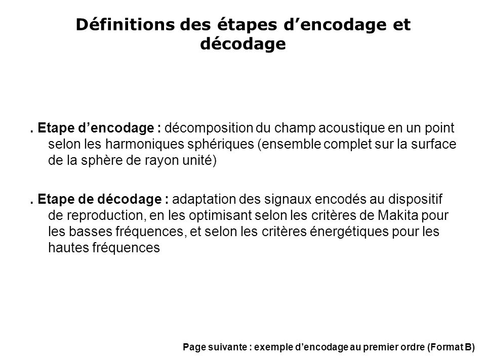 Définitions des étapes d'encodage et décodage. Etape d'encodage : décomposition du champ acoustique en un point selon les harmoniques sphériques (ense