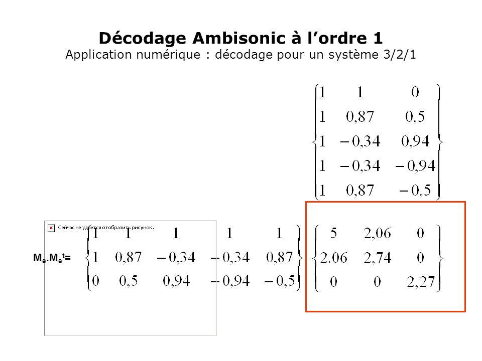 Décodage Ambisonic à l'ordre 1 Application numérique : décodage pour un système 3/2/1 M e.M e t =