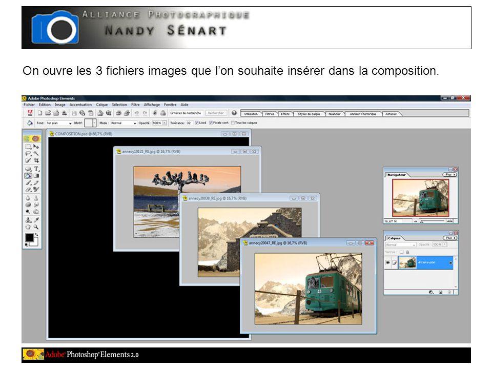 On ouvre les 3 fichiers images que l'on souhaite insérer dans la composition.