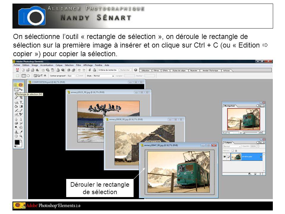 On sélectionne l'outil « rectangle de sélection », on déroule le rectangle de sélection sur la première image à insérer et on clique sur Ctrl + C (ou « Edition  copier ») pour copier la sélection.