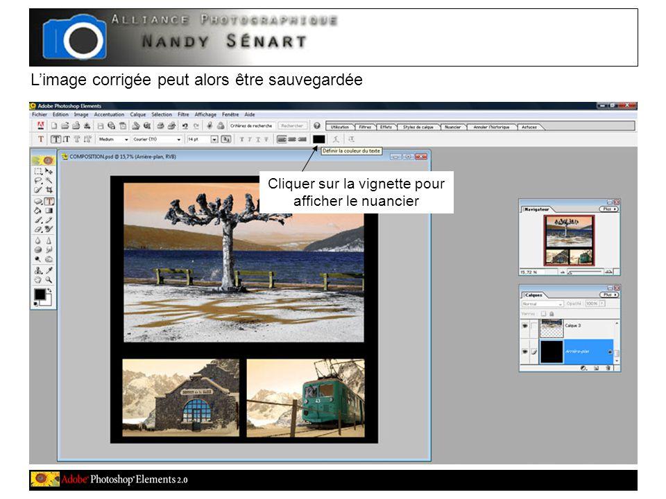 L'image corrigée peut alors être sauvegardée Cliquer sur la vignette pour afficher le nuancier