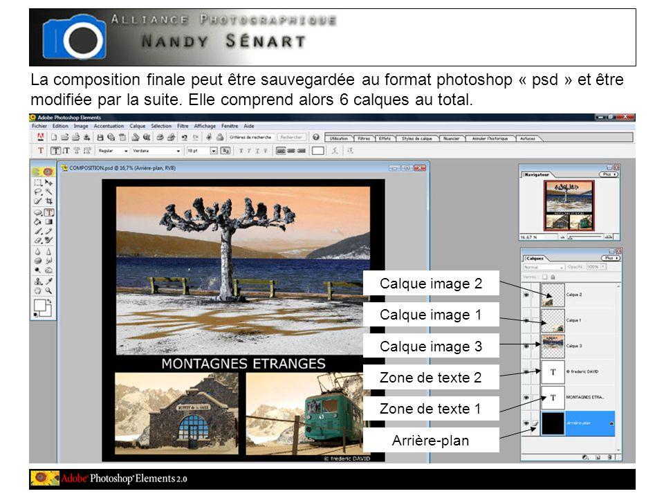 La composition finale peut être sauvegardée au format photoshop « psd » et être modifiée par la suite.