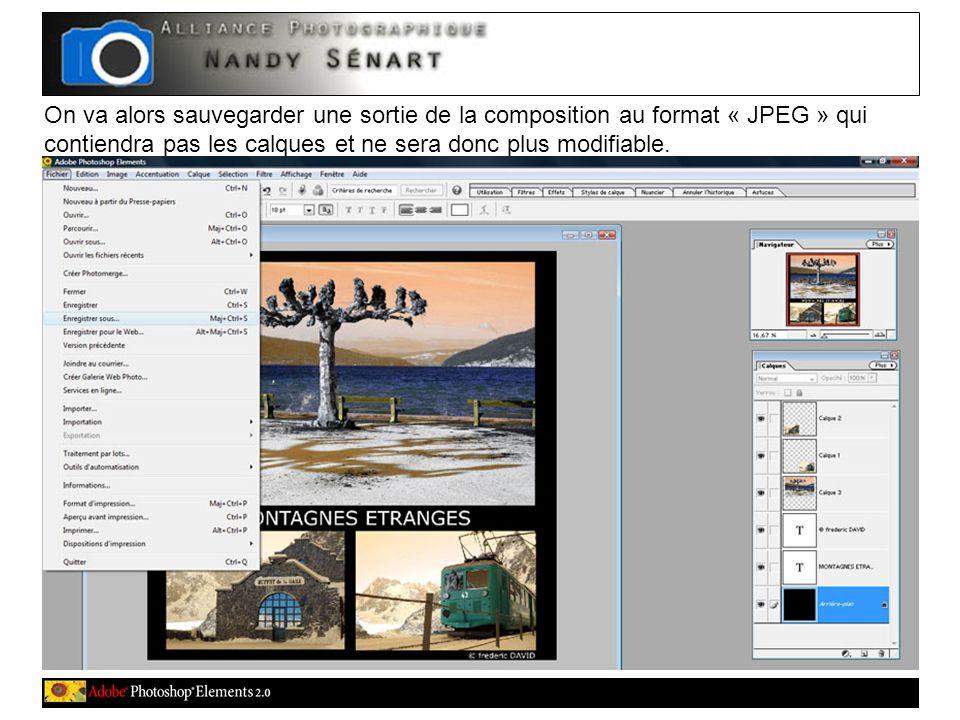 On va alors sauvegarder une sortie de la composition au format « JPEG » qui contiendra pas les calques et ne sera donc plus modifiable.
