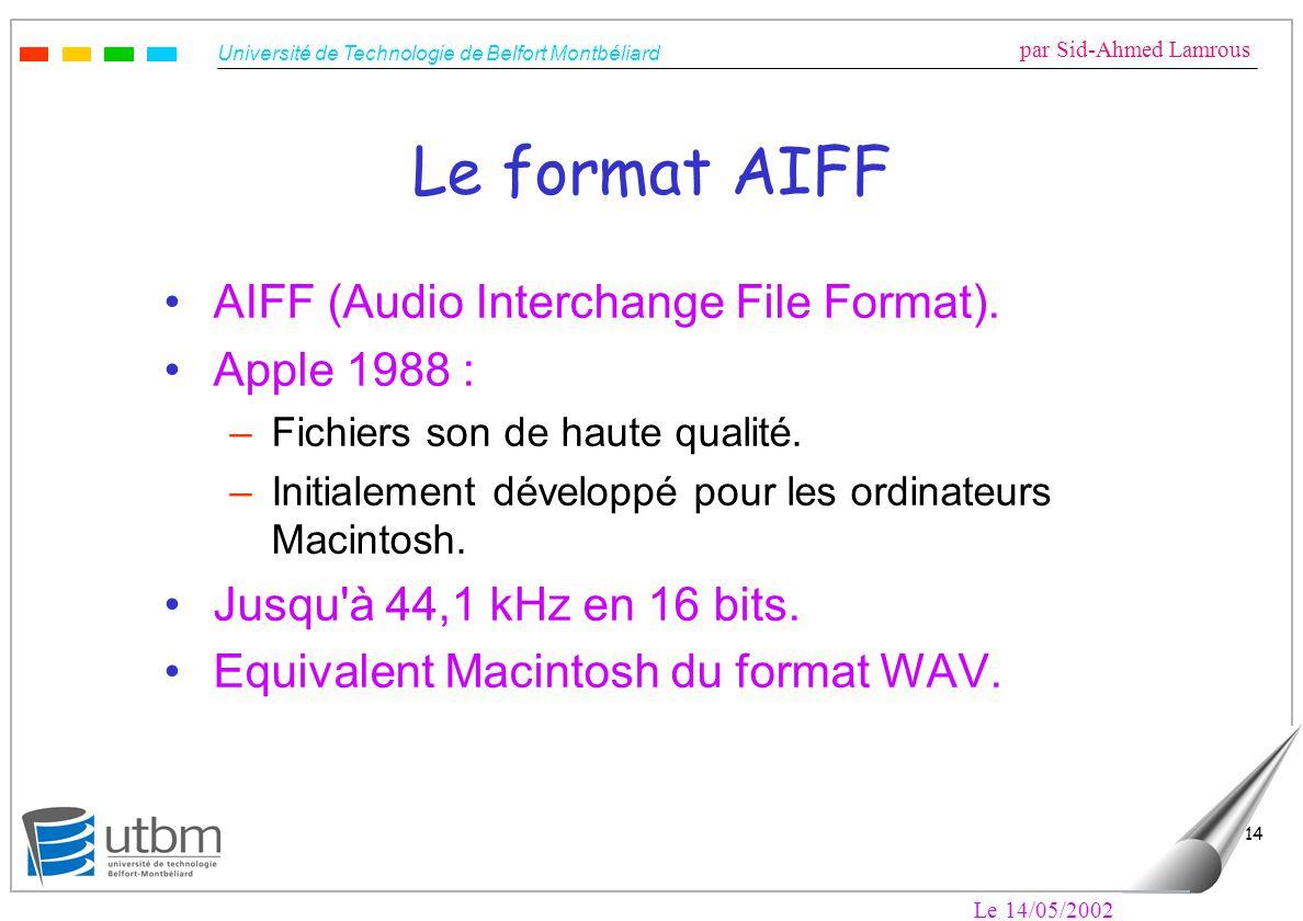 Université de Technologie de Belfort Montbéliard par Sid-Ahmed Lamrous Le 14/05/2002 14 Le format AIFF AIFF (Audio Interchange File Format). Apple 198