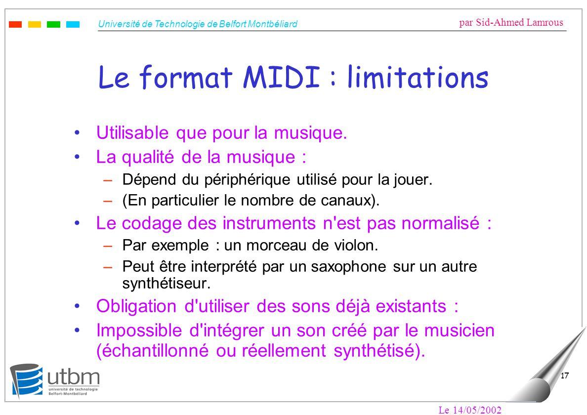 Université de Technologie de Belfort Montbéliard par Sid-Ahmed Lamrous Le 14/05/2002 17 Le format MIDI : limitations Utilisable que pour la musique.