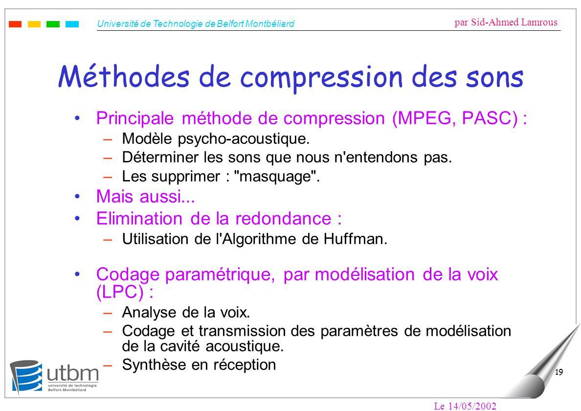Université de Technologie de Belfort Montbéliard par Sid-Ahmed Lamrous Le 14/05/2002 19 Méthodes de compression des sons Principale méthode de compres