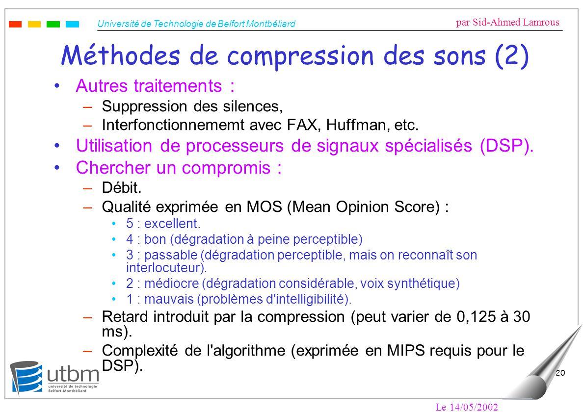 Université de Technologie de Belfort Montbéliard par Sid-Ahmed Lamrous Le 14/05/2002 20 Méthodes de compression des sons (2) Autres traitements : –Sup