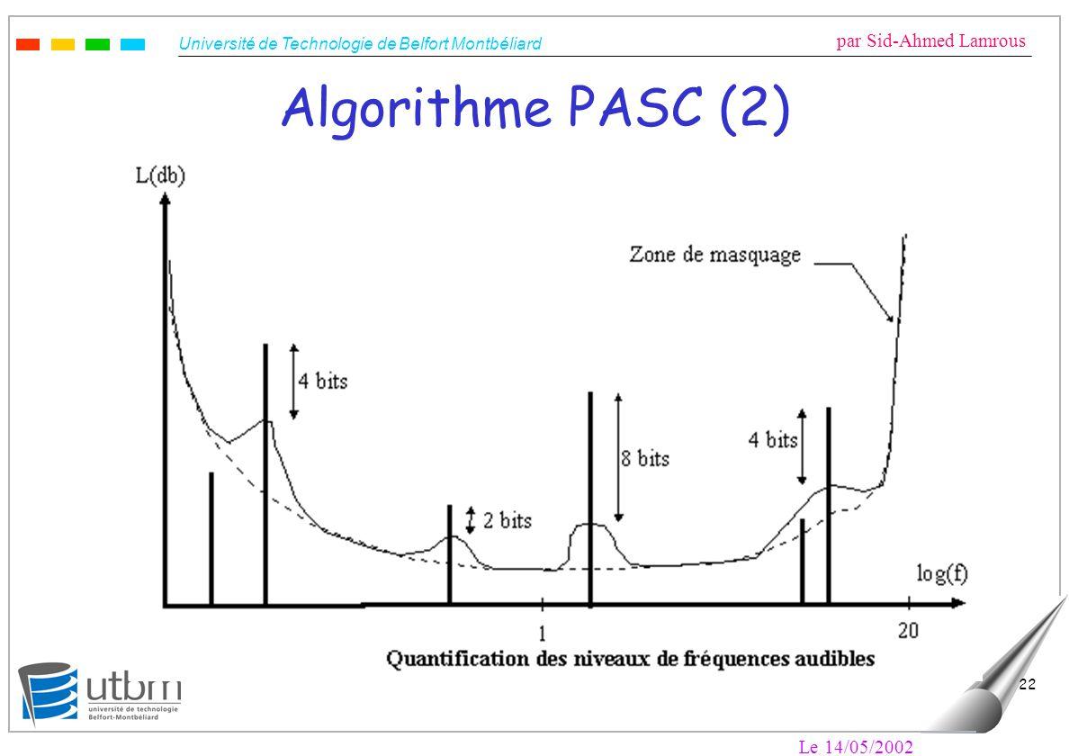 Université de Technologie de Belfort Montbéliard par Sid-Ahmed Lamrous Le 14/05/2002 22 Algorithme PASC (2)
