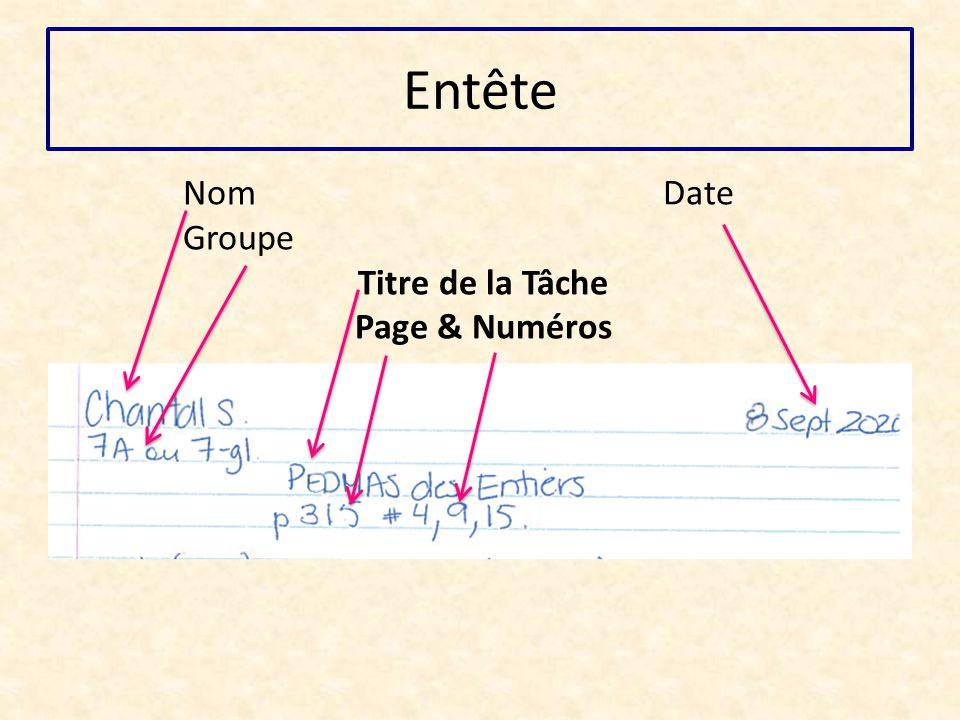 Entête Nom Date Groupe Titre de la Tâche Page & Numéros