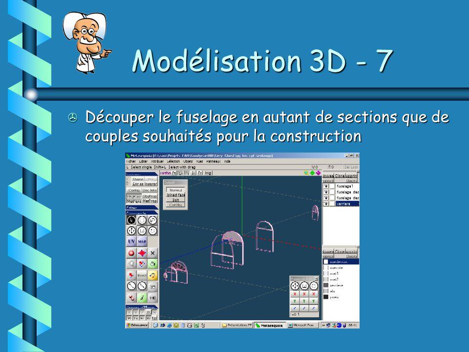 Modélisation 3D - 7 > Découper le fuselage en autant de sections que de couples souhaités pour la construction