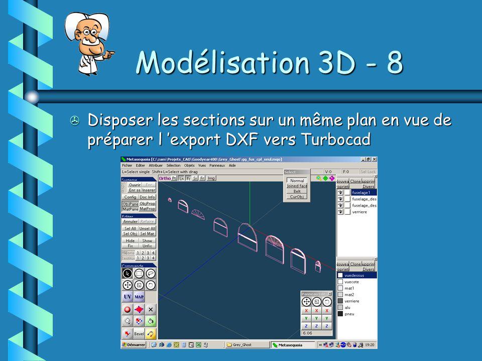 Modélisation 3D - 8 > Disposer les sections sur un même plan en vue de préparer l 'export DXF vers Turbocad