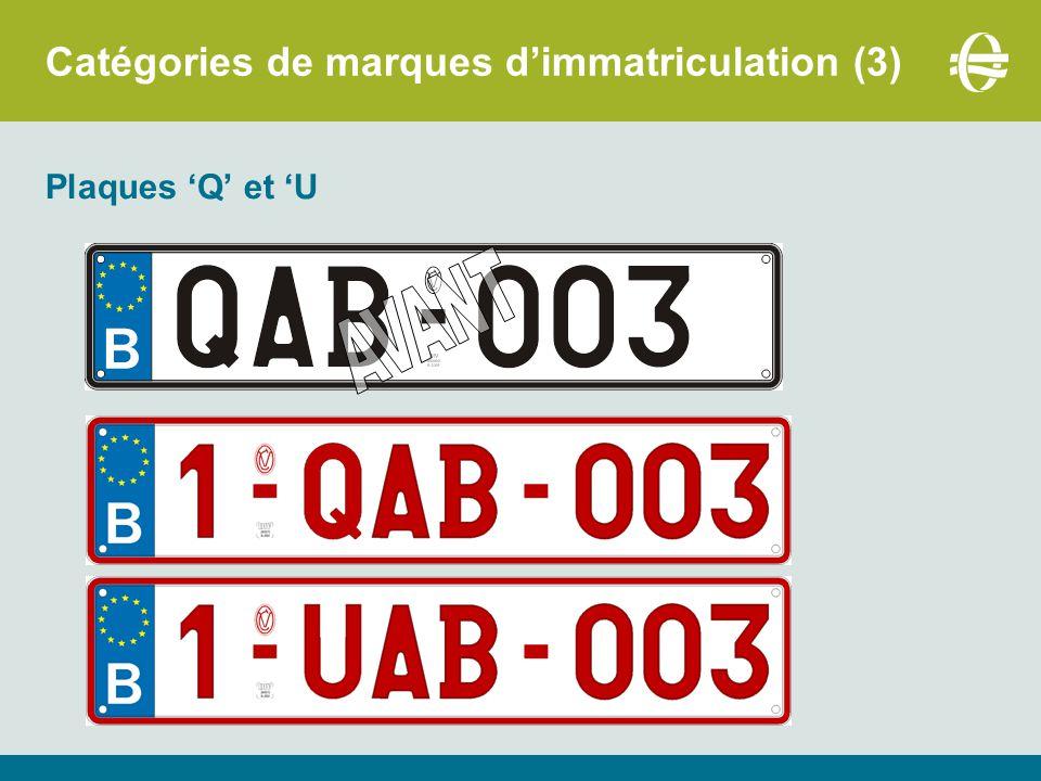 Catégories de marques d'immatriculation (4) Plaque O : Adaptation de la réglementation :  Véhicules sous plaque O restent dispensés du contrôle technique annuel.