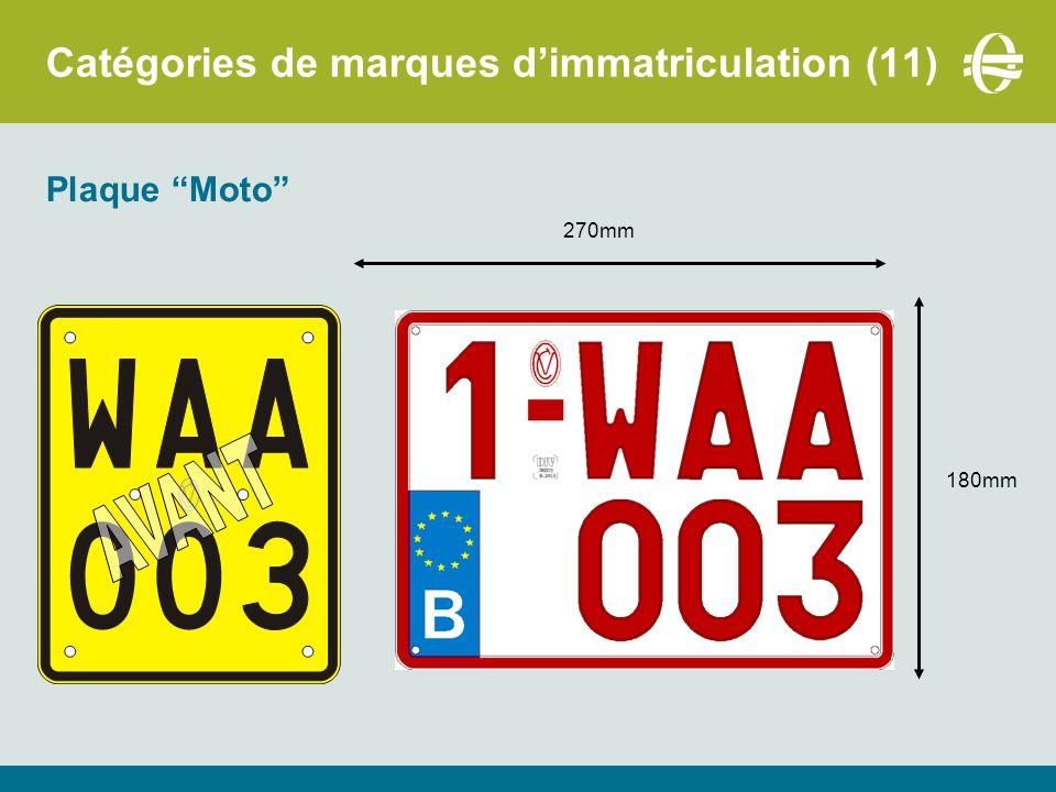 Catégories de marques d'immatriculation (11) Plaque Moto 270mm 180mm