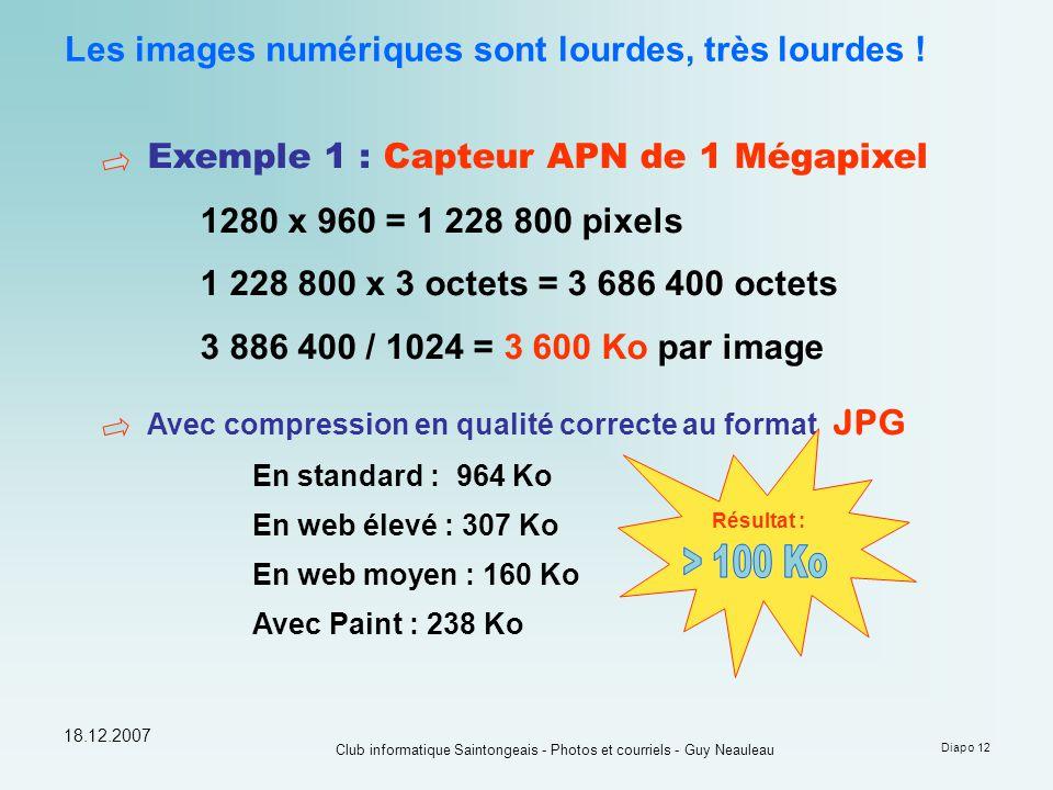 18.12.2007 Club informatique Saintongeais - Photos et courriels - Guy Neauleau Diapo 12 Les images numériques sont lourdes, très lourdes ! Exemple 1 :