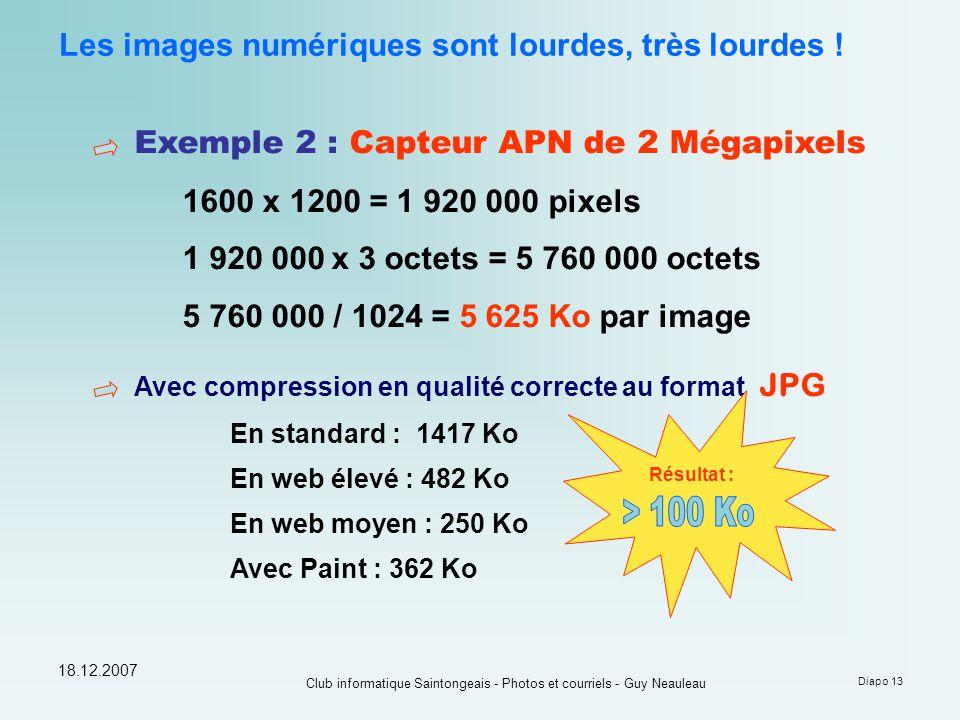 18.12.2007 Club informatique Saintongeais - Photos et courriels - Guy Neauleau Diapo 13 Les images numériques sont lourdes, très lourdes ! Exemple 2 :