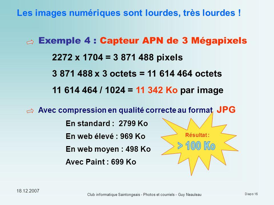 18.12.2007 Club informatique Saintongeais - Photos et courriels - Guy Neauleau Diapo 15 Les images numériques sont lourdes, très lourdes ! Exemple 4 :