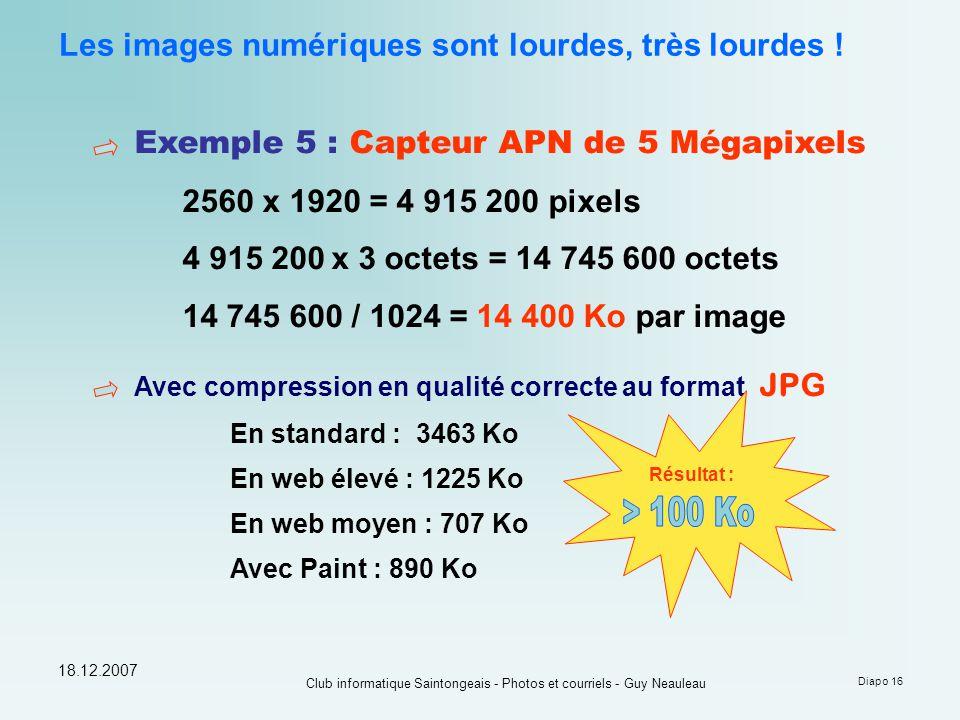 18.12.2007 Club informatique Saintongeais - Photos et courriels - Guy Neauleau Diapo 16 Les images numériques sont lourdes, très lourdes ! Exemple 5 :
