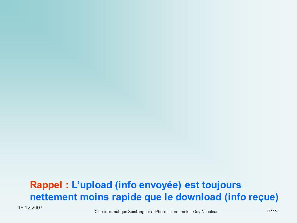 18.12.2007 Club informatique Saintongeais - Photos et courriels - Guy Neauleau Diapo 5 Rappel : L'upload (info envoyée) est toujours nettement moins rapide que le download (info reçue)