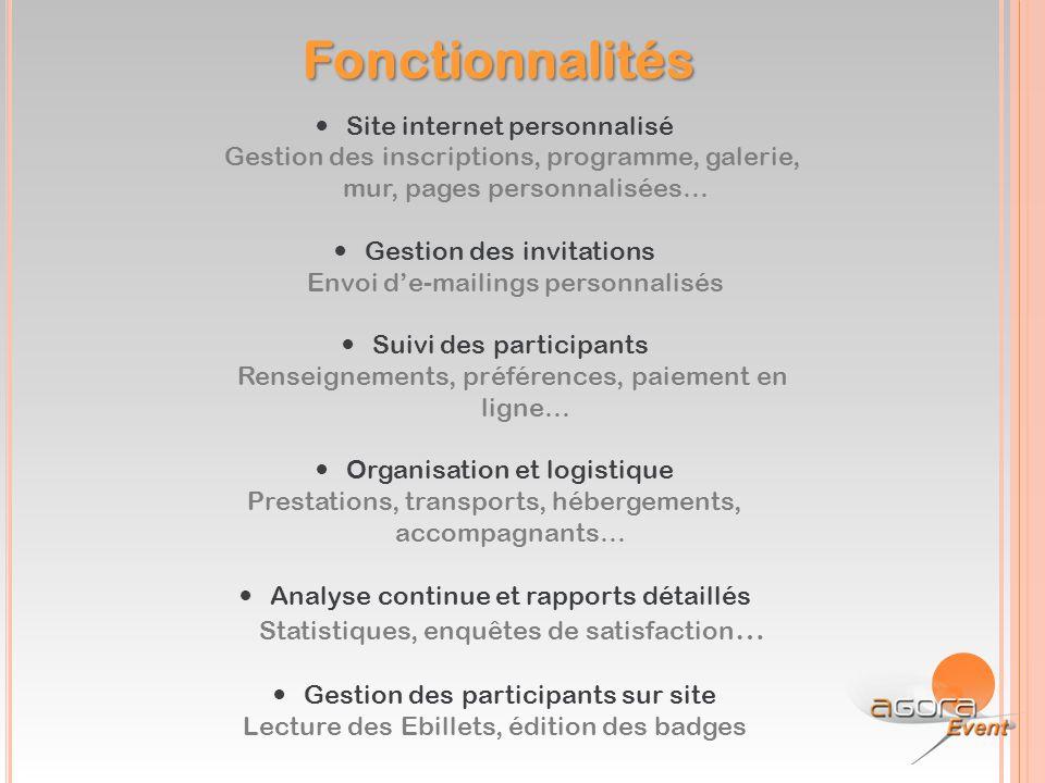 Fonctionnalités Site internet personnalisé Gestion des inscriptions, programme, galerie, mur, pages personnalisées… Gestion des invitations Envoi d'e-