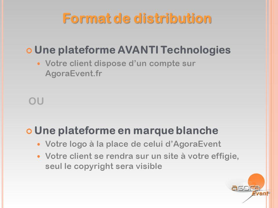 Une plateforme AVANTI Technologies Votre client dispose d'un compte sur AgoraEvent.fr OU Une plateforme en marque blanche Votre logo à la place de cel