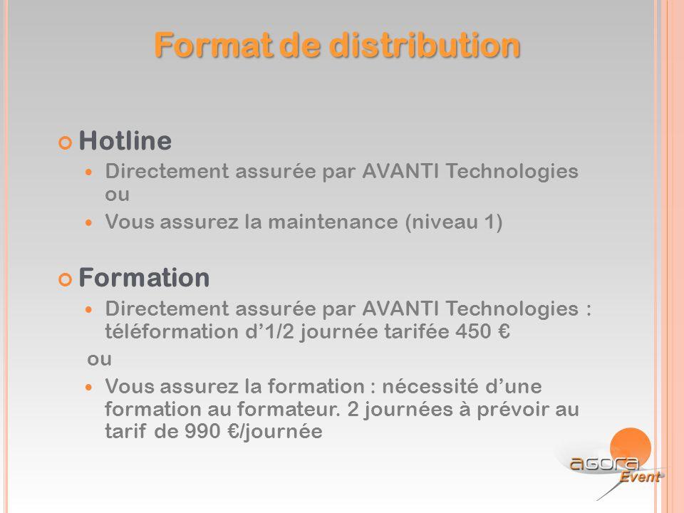 Hotline Directement assurée par AVANTI Technologies ou Vous assurez la maintenance (niveau 1) Formation Directement assurée par AVANTI Technologies :