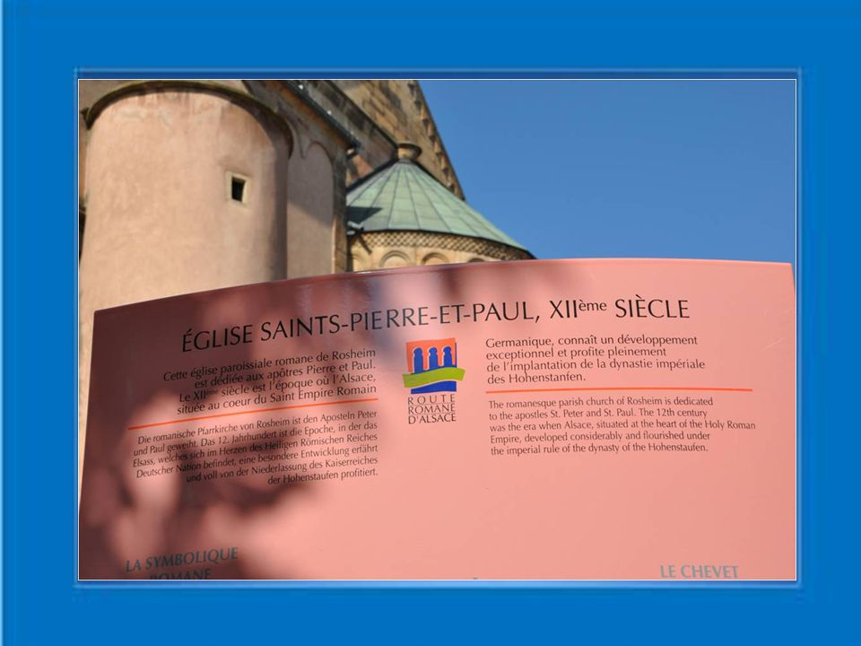 Rosheim est une ville au nord d'Obernai Bien que légèrement hors de la principale Route touristique une visite est recommandée Surtout pour l'église romane saints Pierre et Paul construite en forme de croix latine en grès jaune entre 1145 et 1167