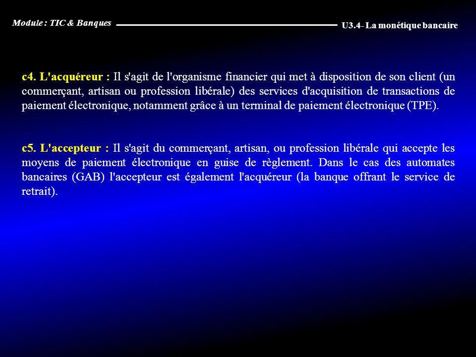 c4. L'acquéreur : Il s'agit de l'organisme financier qui met à disposition de son client (un commerçant, artisan ou profession libérale) des services