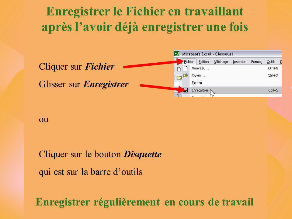 Enregistrer le Fichier en travaillant après l'avoir déjà enregistrer une fois Cliquer sur Fichier Glisser sur Enregistrer ou Cliquer sur le bouton Disquette qui est sur la barre d'outils Enregistrer régulièrement en cours de travail