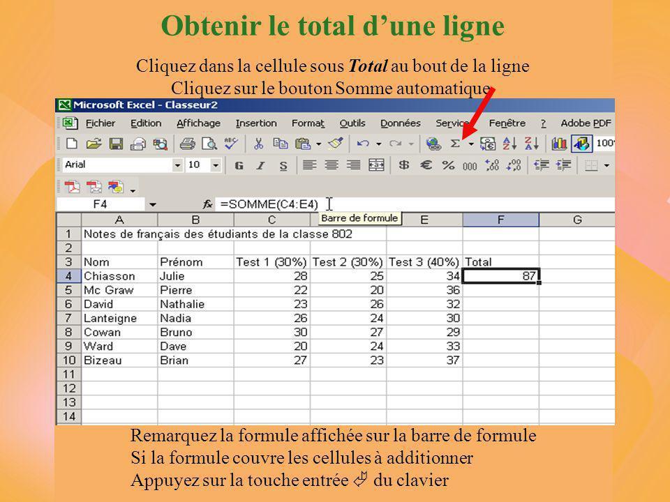 Obtenir le total d'une ligne Cliquez dans la cellule sous Total au bout de la ligne Cliquez sur le bouton Somme automatique Remarquez la formule affichée sur la barre de formule Si la formule couvre les cellules à additionner Appuyez sur la touche entrée  du clavier