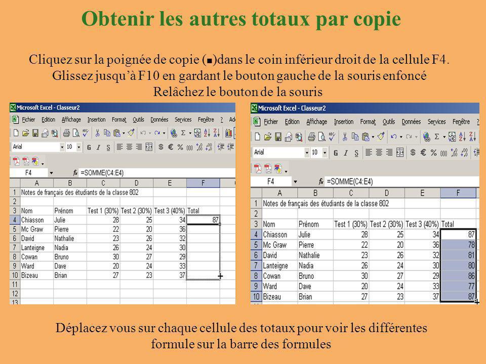 Obtenir les autres totaux par copie Cliquez sur la poignée de copie ( )dans le coin inférieur droit de la cellule F4.