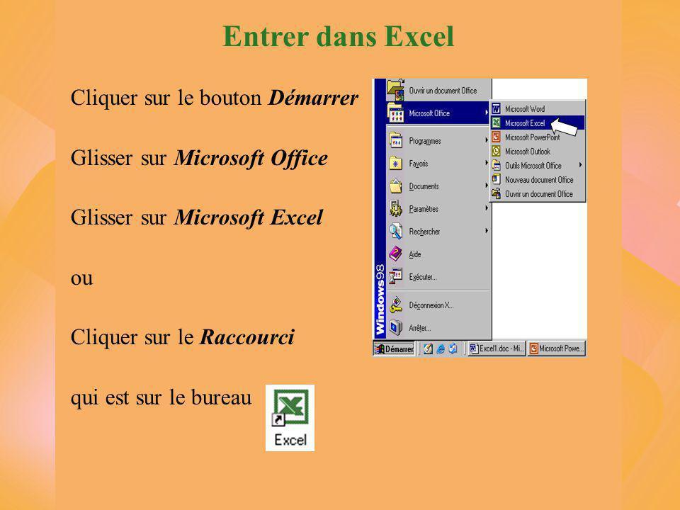 Entrer dans Excel Cliquer sur le bouton Démarrer Glisser sur Microsoft Office Glisser sur Microsoft Excel ou Cliquer sur le Raccourci qui est sur le bureau