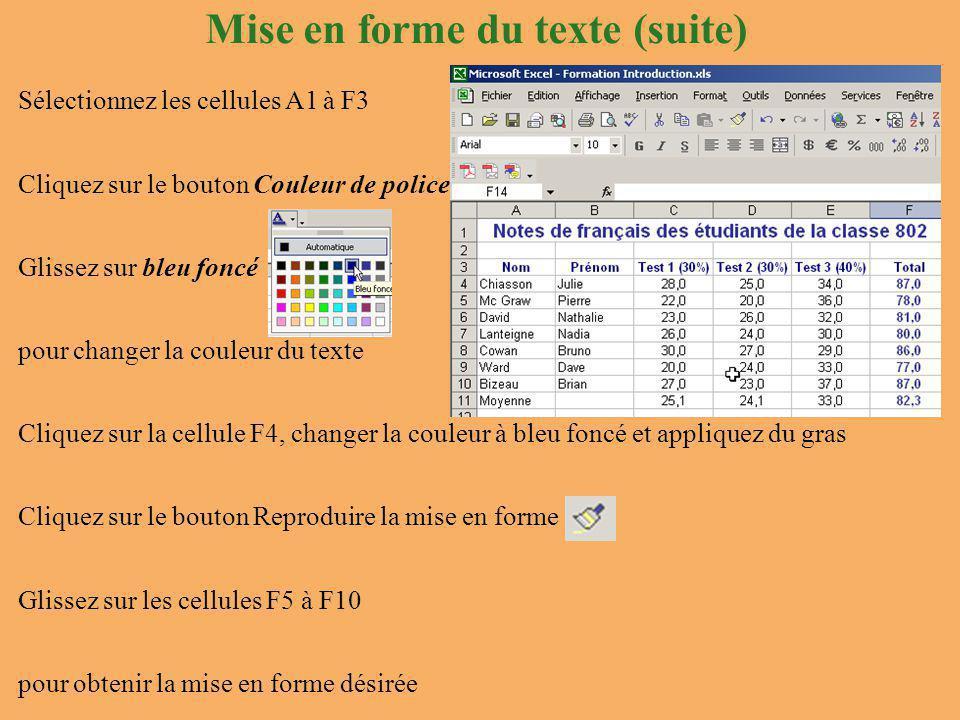 Mise en forme du texte (suite) Sélectionnez les cellules A1 à F3 Cliquez sur le bouton Couleur de police Glissez sur bleu foncé pour changer la couleur du texte Cliquez sur la cellule F4, changer la couleur à bleu foncé et appliquez du gras Cliquez sur le bouton Reproduire la mise en forme Glissez sur les cellules F5 à F10 pour obtenir la mise en forme désirée