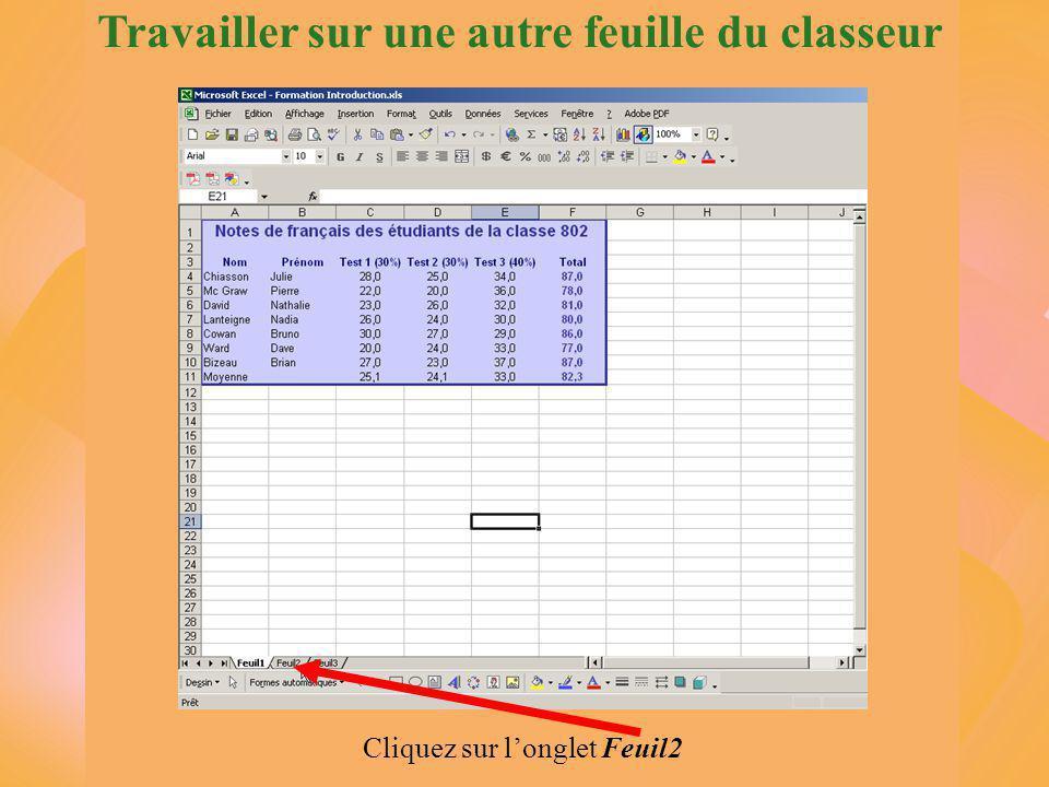 Travailler sur une autre feuille du classeur Cliquez sur l'onglet Feuil2