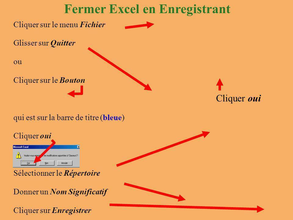 Cliquer sur le menu Fichier Glisser sur Quitter ou Cliquer sur le Bouton qui est sur la barre de titre (bleue) Cliquer oui Sélectionner le Répertoire Donner un Nom Significatif Cliquer sur Enregistrer Fermer Excel en Enregistrant Cliquer oui