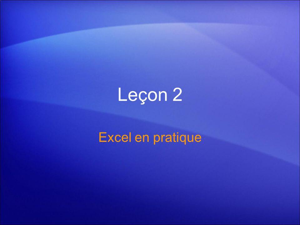 Leçon 2 Excel en pratique