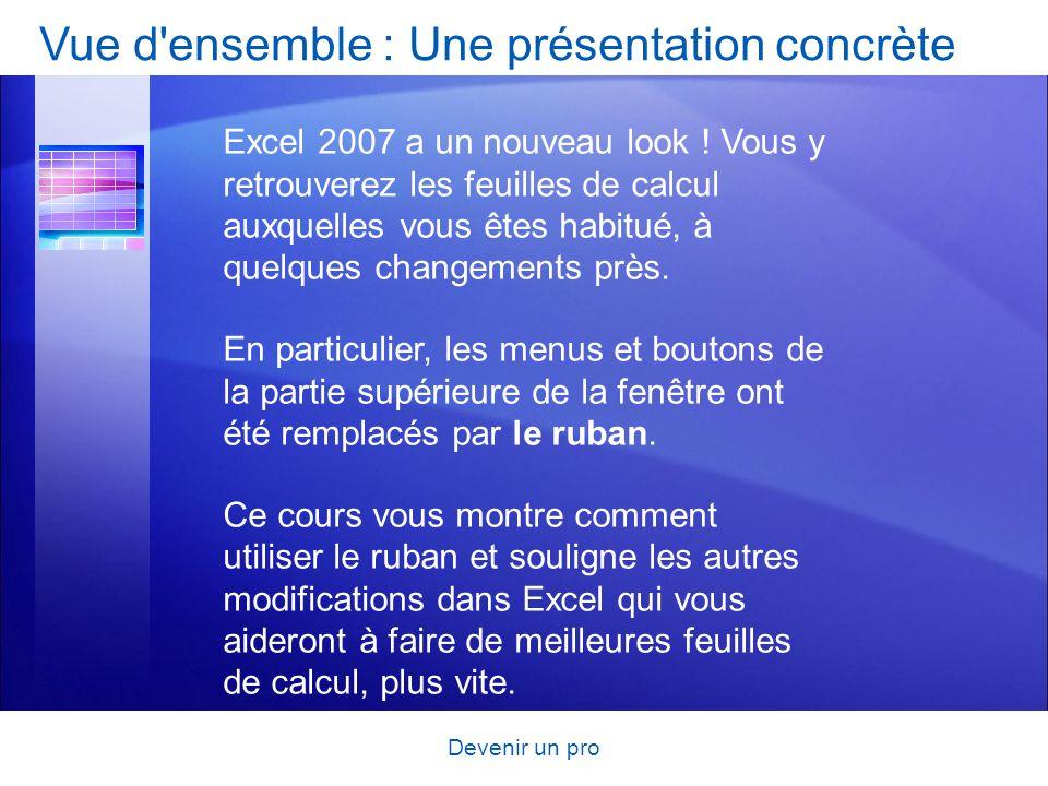 Devenir un pro Vue d'ensemble : Une présentation concrète Excel 2007 a un nouveau look ! Vous y retrouverez les feuilles de calcul auxquelles vous ête
