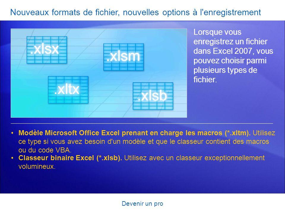 Devenir un pro Nouveaux formats de fichier, nouvelles options à l'enregistrement Lorsque vous enregistrez un fichier dans Excel 2007, vous pouvez choi