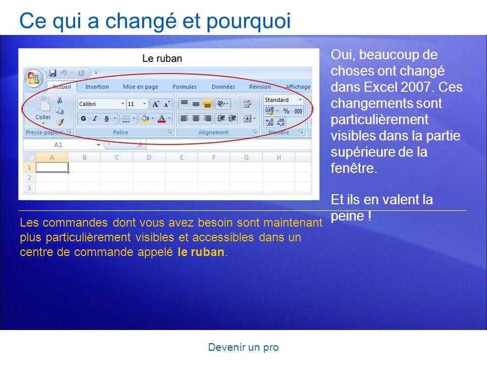 Devenir un pro Ce qui a changé et pourquoi Oui, beaucoup de choses ont changé dans Excel 2007. Ces changements sont particulièrement visibles dans la